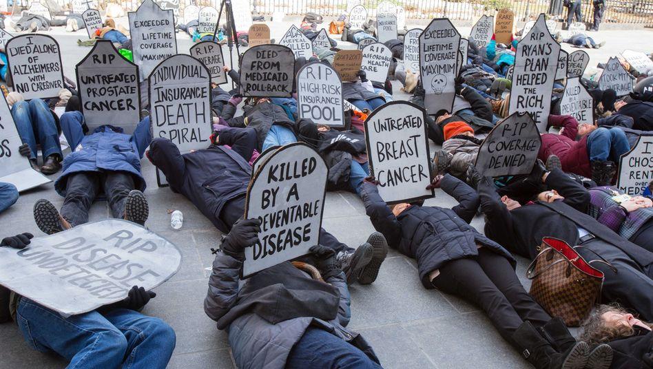 Demo gegen die Abschaffung von Obamacare im März 2017 in New York City