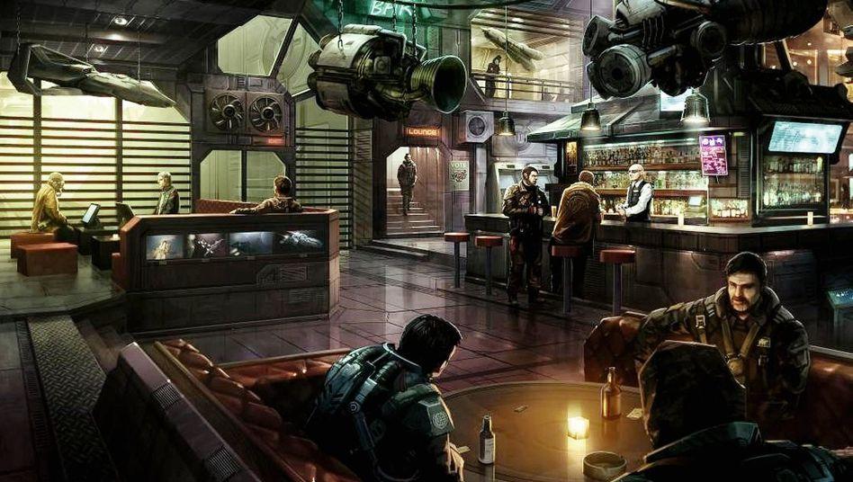Treffpunkt für Raumschiffpiloten im Computerspiel »Star Citizen« (Konzeptzeichnung)