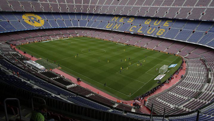 Camp Nou ohne Fans beim Spiel FC Barcelona gegen Las Palmas