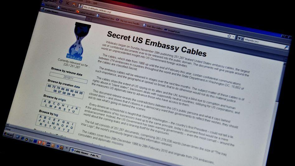 """WikiLeaks-Homepage (Ansicht vom 28. November): """"Sturm für die globale Diplomatie"""""""