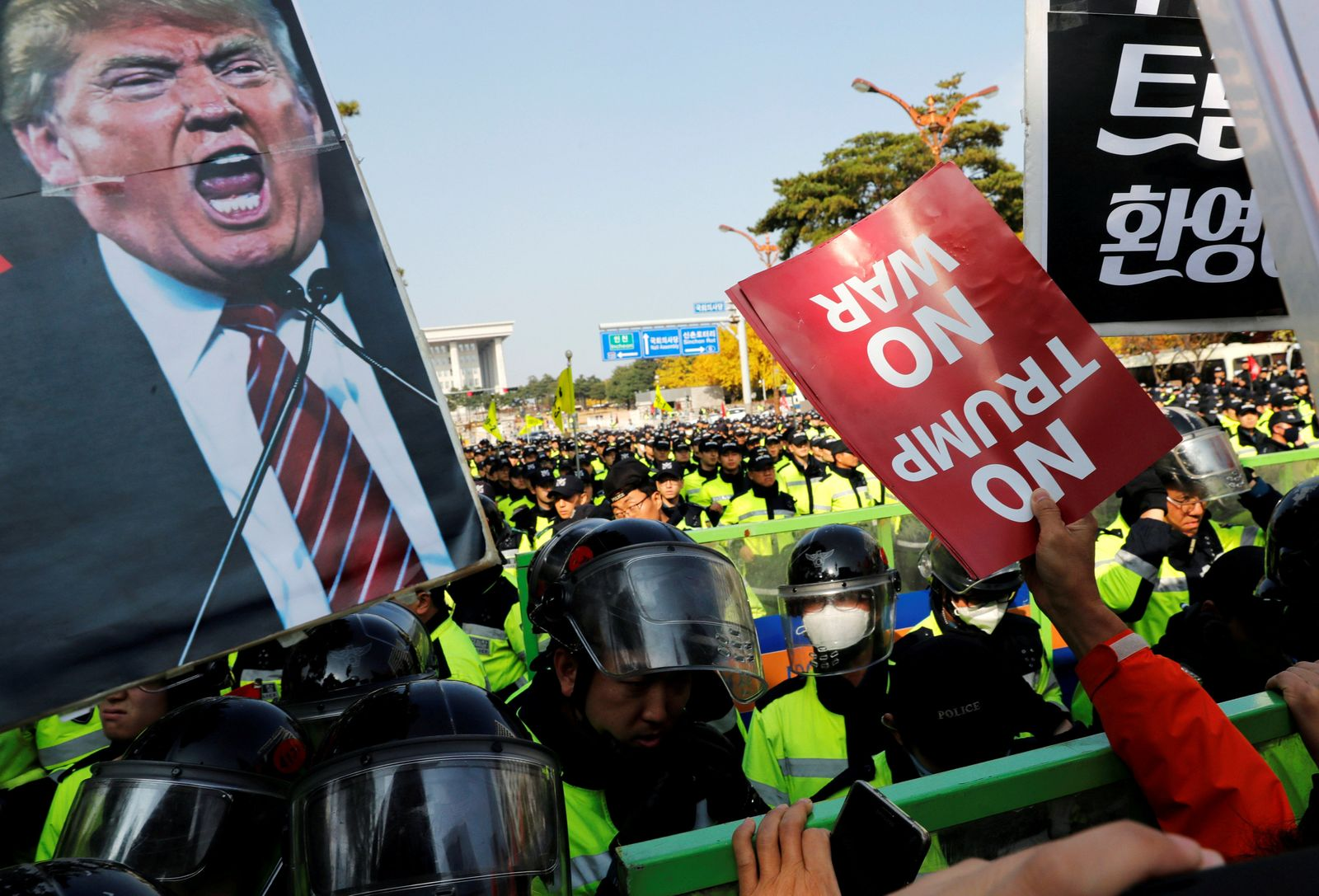 Donald Trump Seoul Protest
