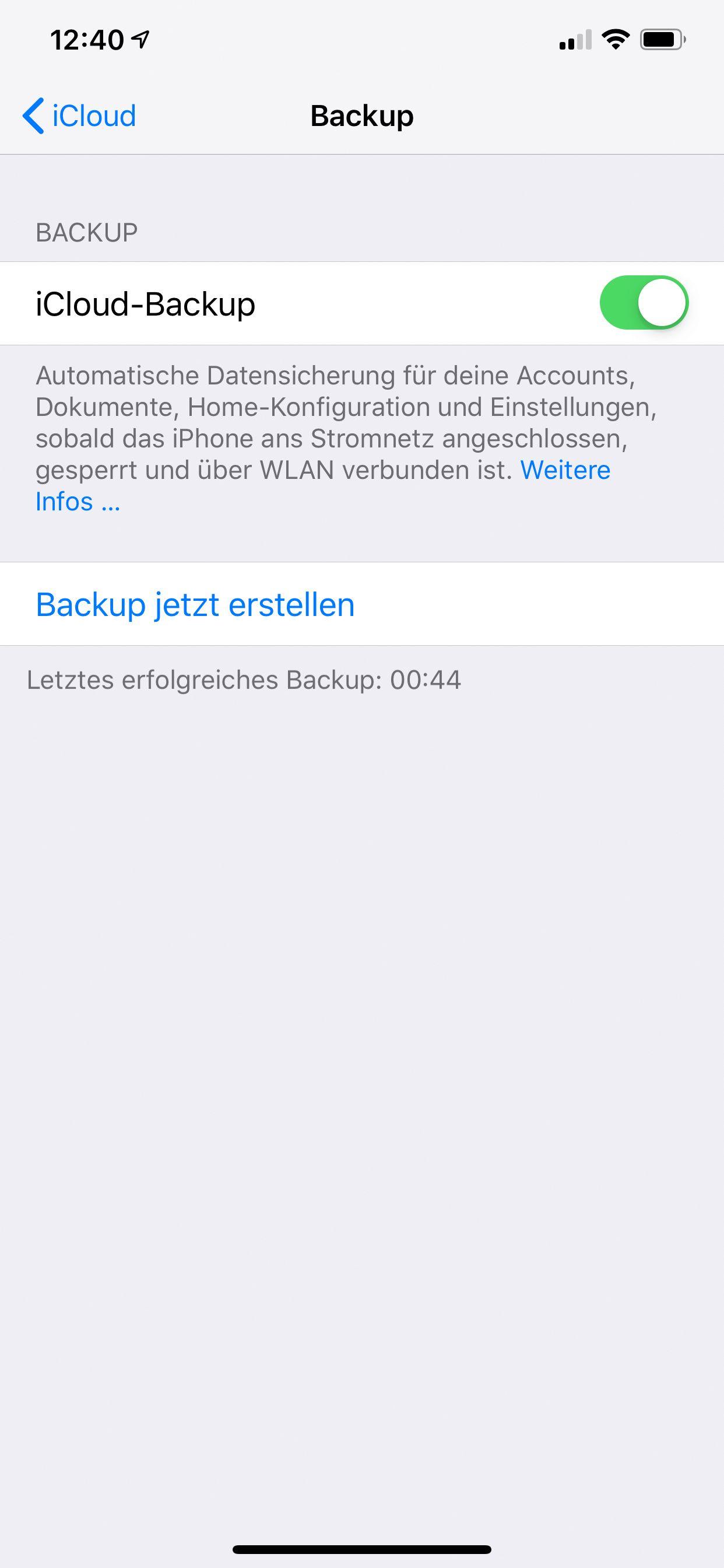 NUR ALS ZITAT Screenshot iPhone-Tipps/ iCloud Backup