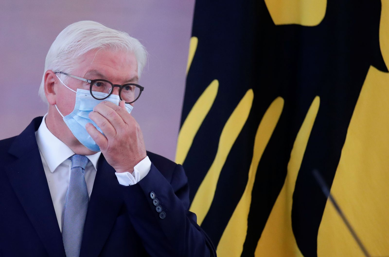 German President Frank-Walter Steinmeier holds a news conference in Berlin