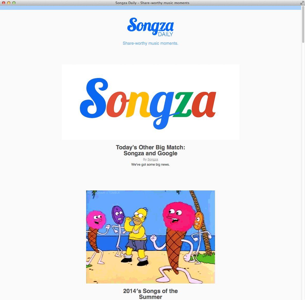 NUR ALS ZITAT Screenshot Songza Daily