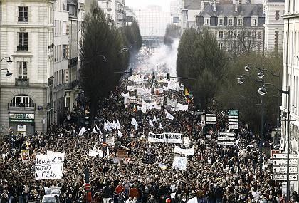 Demonstrators in Rennes, western France, on March 28, the first day of the national general strike againsts a new labor law.