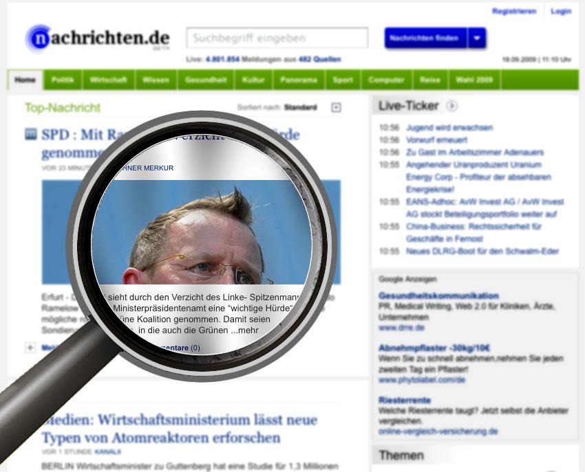 Screen Nachrichten.de mit Lupe / Montage