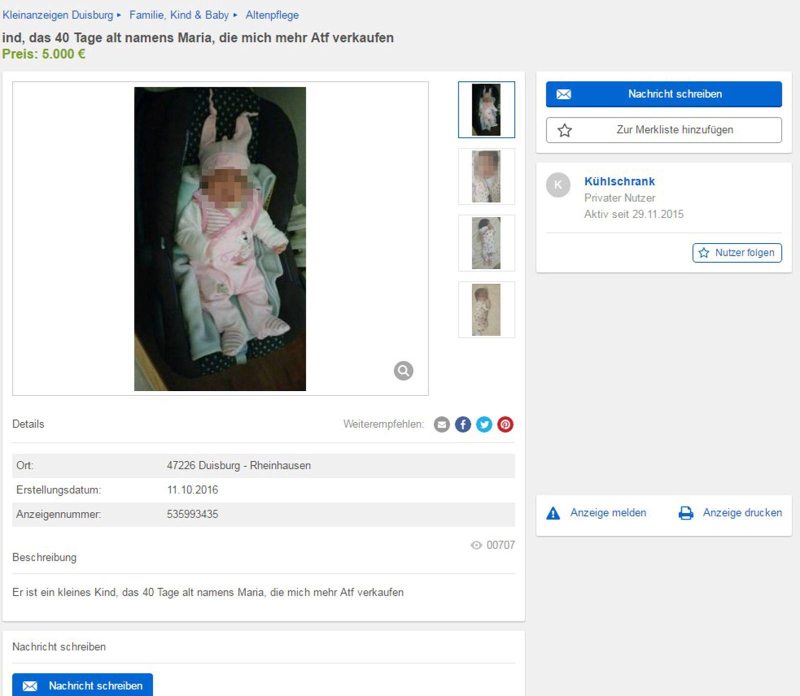 EINMALIGE VERWENDUNG Screenshot/ Baby/ Ebay Kleinanzeigen