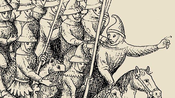 Bloßgestellt Den Kopf ihres Feindes Herzog Heinrich präsentierten die siegreichen Mongolen nach der Schlacht von Liegnitz 1241 (Buchmalerei von 1451).
