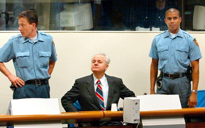 Former Serbian President Slobodan Milošević in court at The Hague.