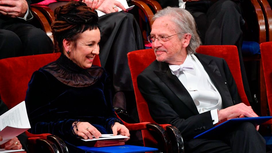 Literaturnobelpreisträger Olga Tokarczuk, Peter Handke 2019 in Stockholm