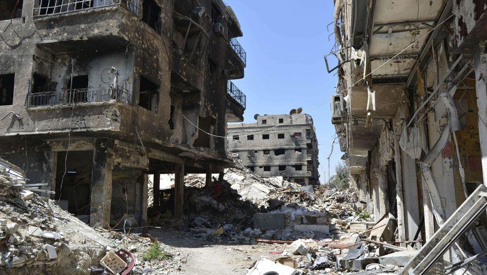Zerstört und verwüstet: Das Viertel Jarmuk in Damaskus