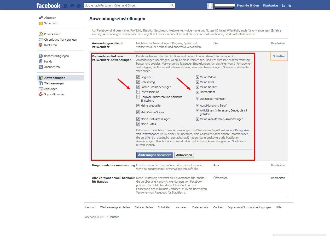 SCREENSHOT 09 Facebook/ Anwendungen von Freunden