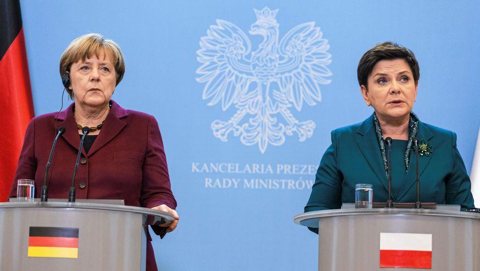 Kanzlerin Merkel, Polnische Premierministerin Szydlo