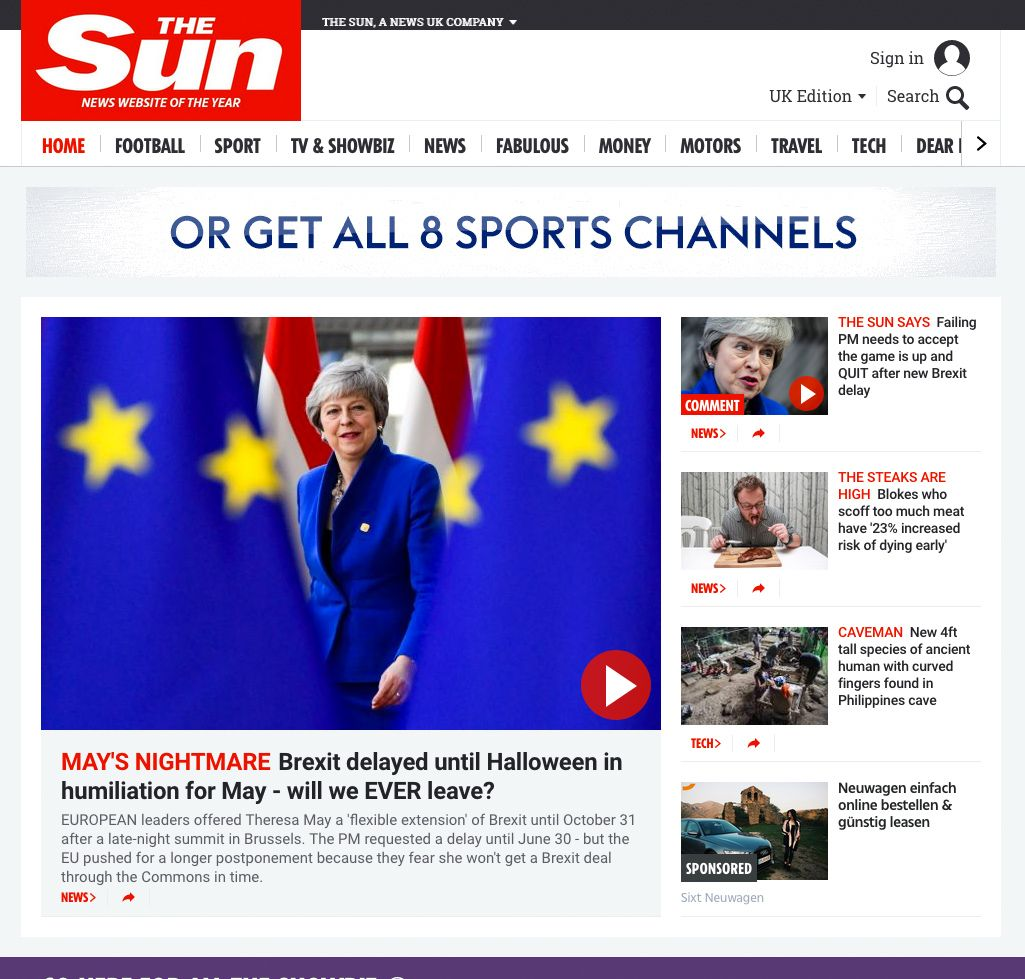 EINMALIGE VERWENDUNG The Sun / Screenshot 11- April 2019