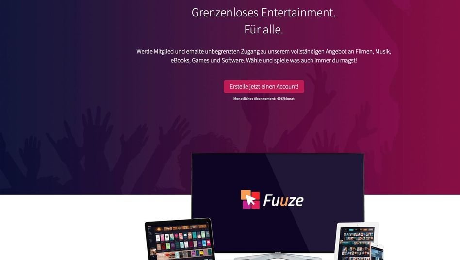 Website von Fuuze.com: Lieber woanders Filme gucken