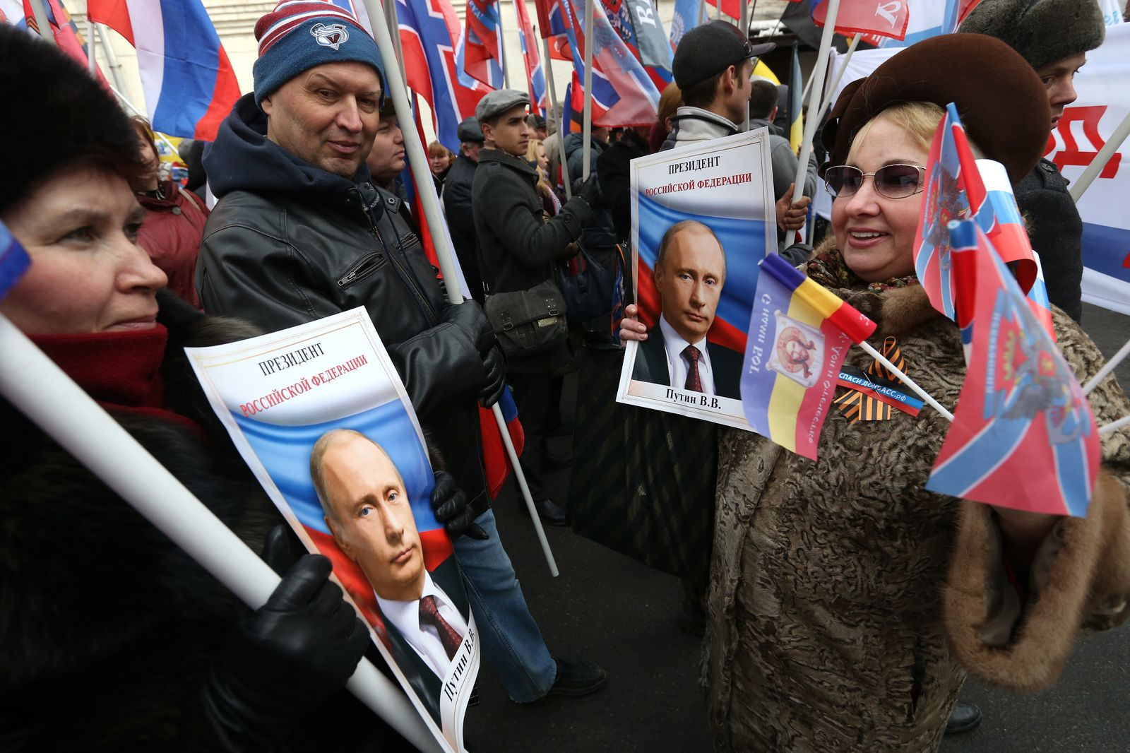 Russian Anti-Maidan Movement Rally On One Year Anniversary Of The Maidan Revolution