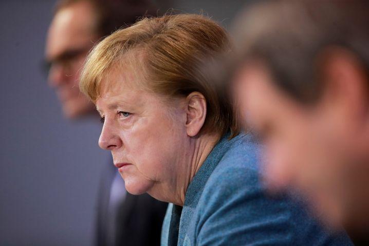 Müller, Merkel, Söder Anfang Februar bei einer Pressekonferenz in Berlin