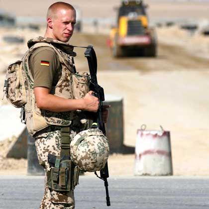 A German soldier stationed in Afghanistan.