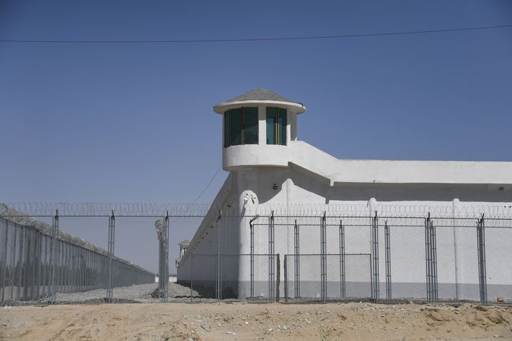 The watchtower of a facility thought to be near a reeducation camp in Xinjiang.