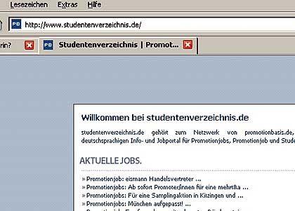 Studentenverzeichnis.de: Hier findet man Promotion-Jobs, keine Freunde