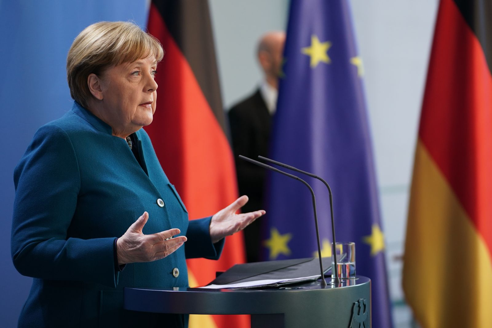 Press statement of German Chancellor Merkel following a telephone conference with Heads of German Regional States on the coronavirus crisis, Berlin, Germany - 22 Mar 2020