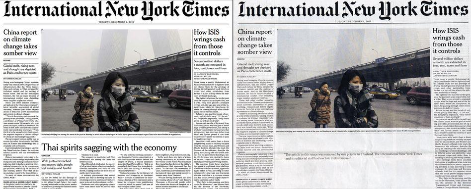 """Das Gegenteil von Bleiwüste: In der thailändischen Ausgabe der """"New York Times"""" fehlt ein Thailand-kritischer Artikel"""