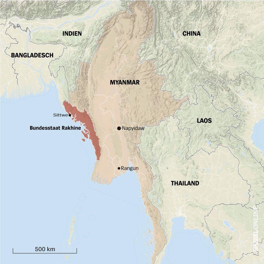 Karte Myanmar Bundesstaat Rakhine