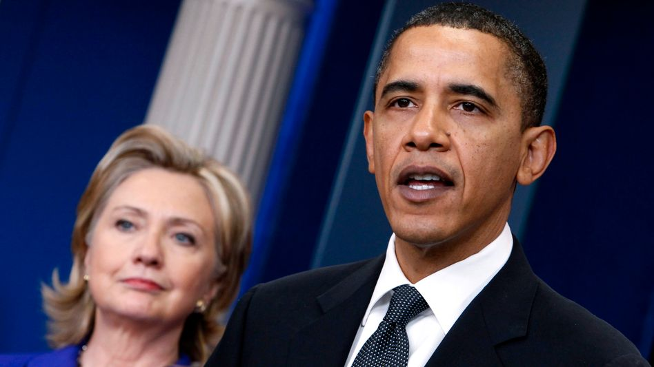 US President Barack Obama, seen here with Secretary of State Hillary Clinton, has unveiled his new nuclear weapons strategy.