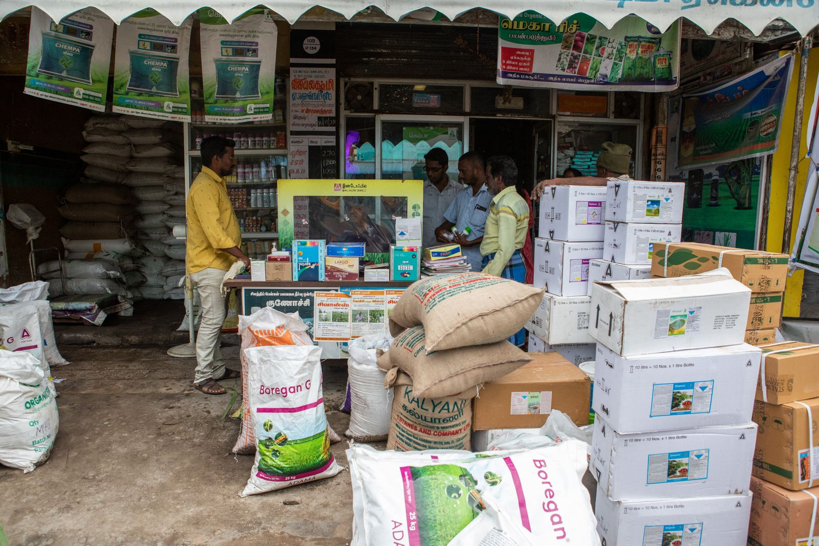 13th Jan 2021,Arkkonam in Tamil Nadu, India. A pesticide shop that sells some of the pesticides that are banned in Europe such as Jump and Sunrice. Photographer: Samyukta Lakshmi.
