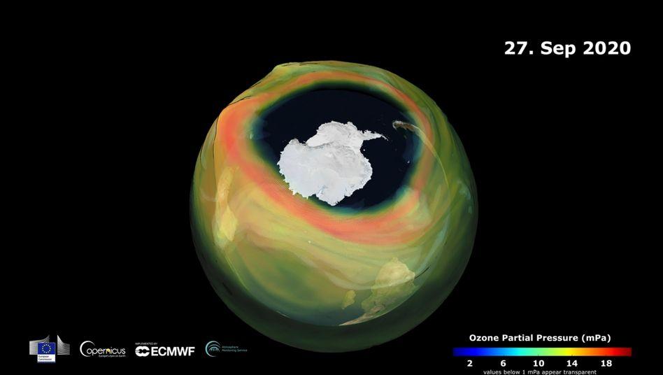 Ozonloch über der Antarktis (grafische Darstellung)