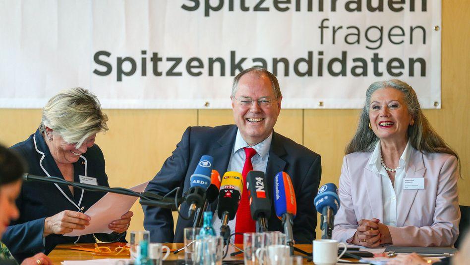 SPD-Kanzlerkandidat zu Besuch bei Spitzenfrauen: Durchaus Contra gegeben