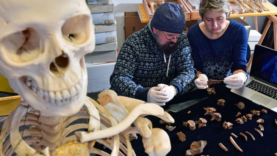 Anthropologin Nicole Nicklisch und Rechtsmediziner Frank Ramsthaler mit den Fundstücken
