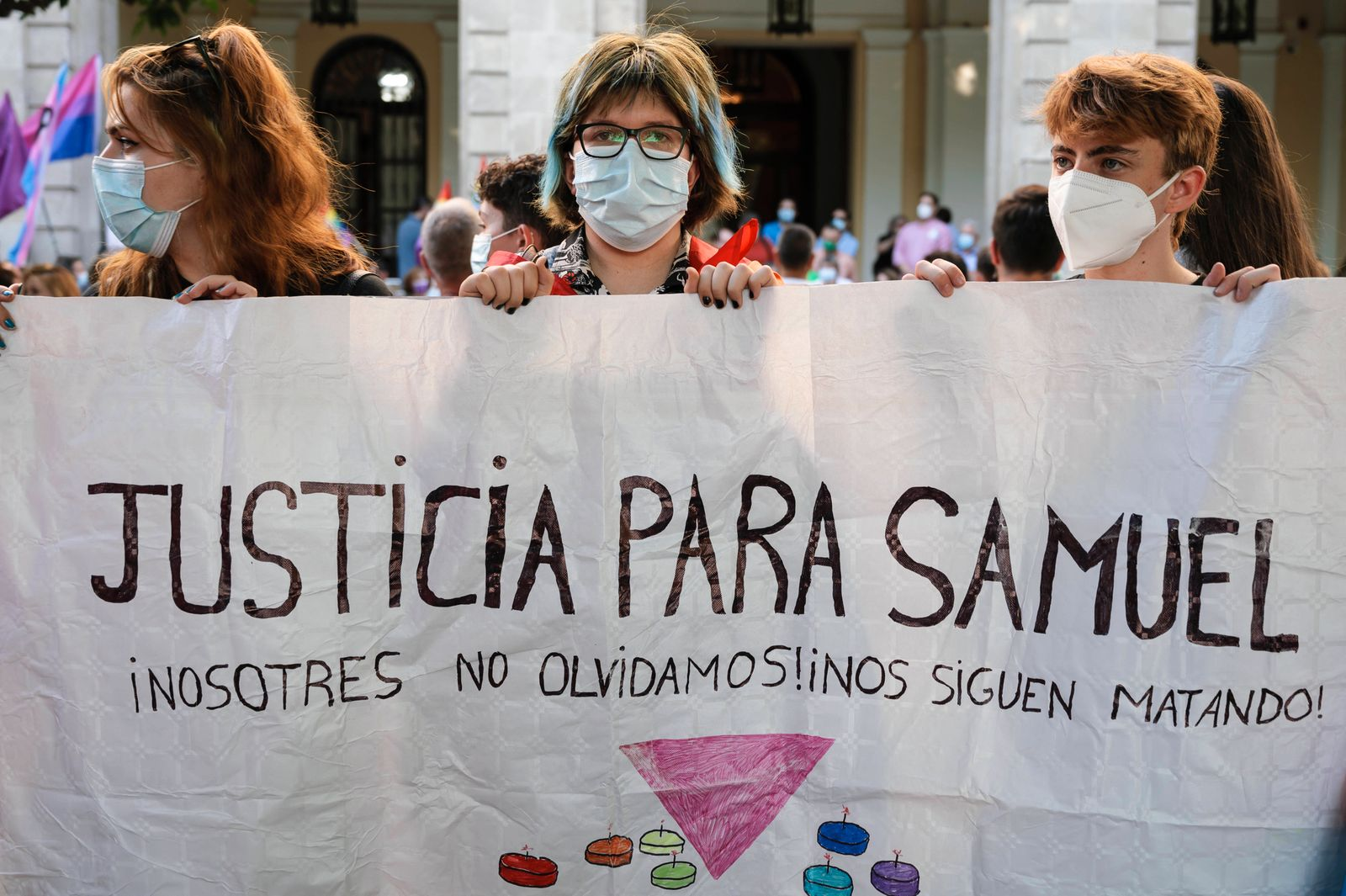 Spain: Protest demanding justice for a possible hate crime against the LGTB people Demostrators demanding justice for Sa