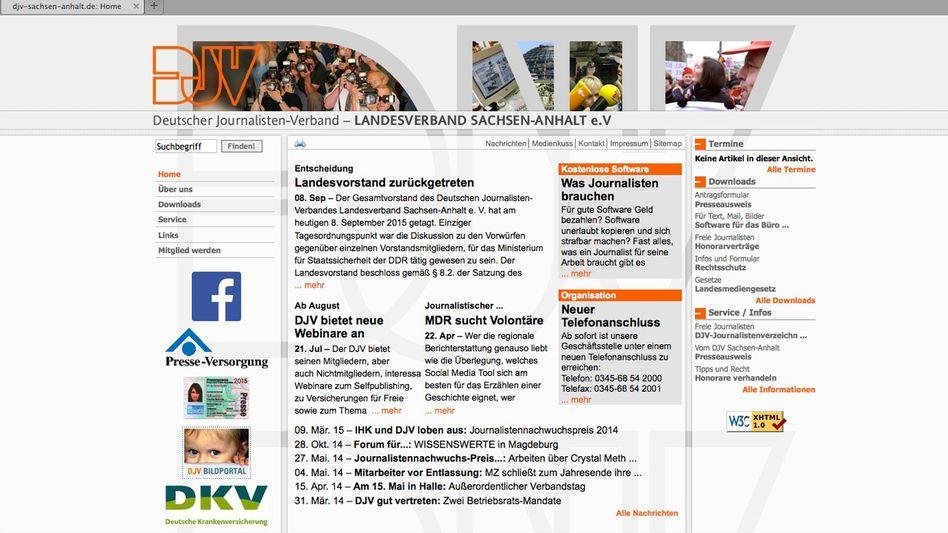 """Homepage des DJV Sachsen-Anhalt: """"Vorwürfe gegenüber einzelnen Vorstandsmitgliedern"""""""