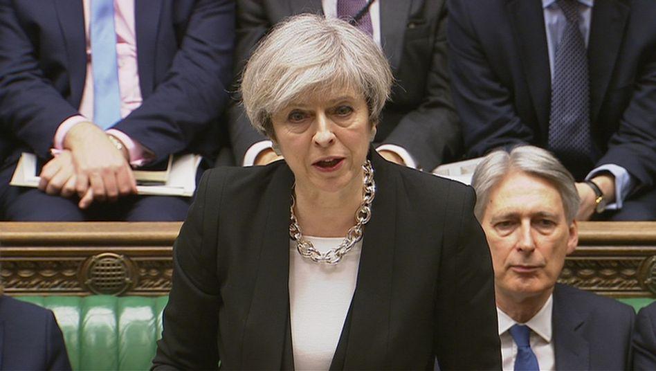 Theresa May bei ihrer Rede im Unterhaus