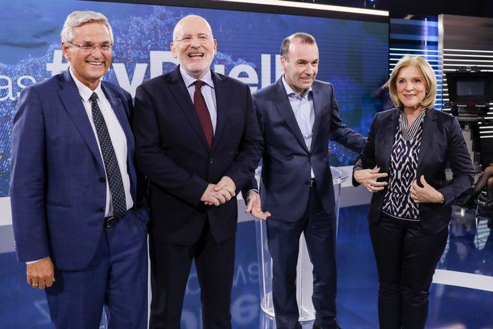 Von links: Peter Frey, Frans Timmermans, Manfred Weber und Ingrid Thurnher