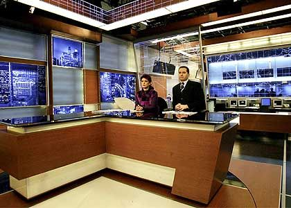 The Al-Hurra news studio in Springfield, Massachusetts.