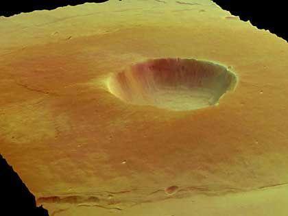 Krater in der Elysium-Region: Auffällige Häufung von Wasser und Methan