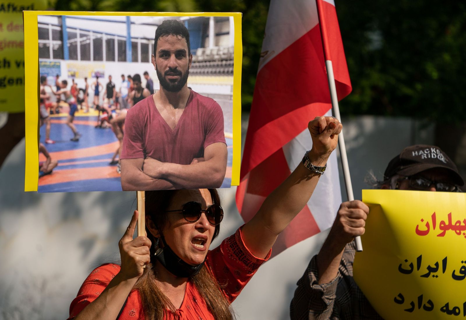 Protest in Berlin against execution of Iranian wrestler Navid Afkari, Deu - 12 Sep 2020