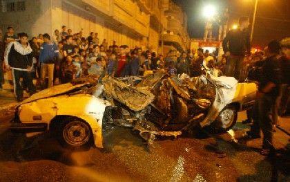 Gaza: Rantissis Auto nach dem Angriff