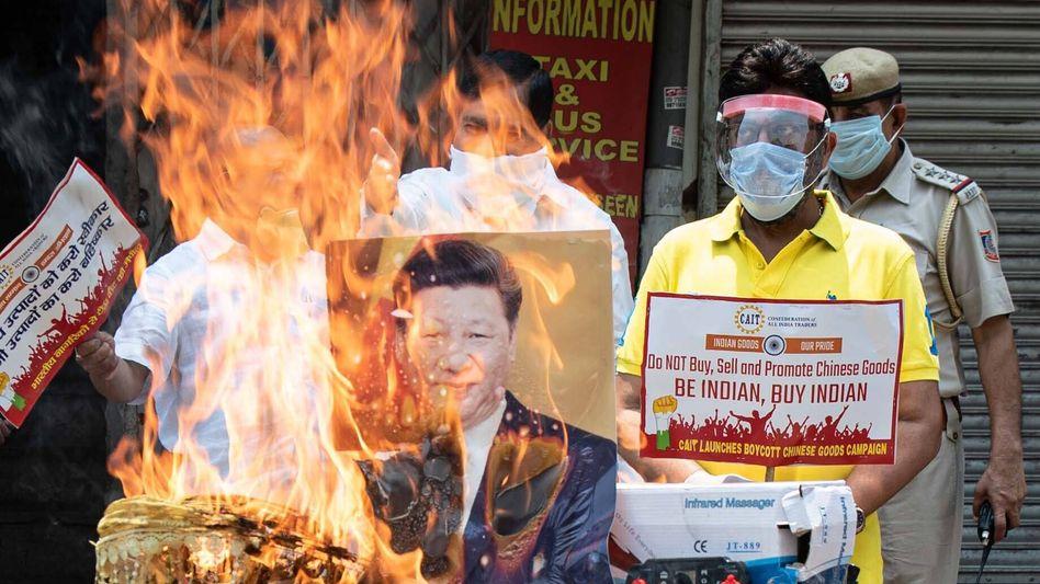 Anti-China-Proteste in Delhi (am 22. Juni)