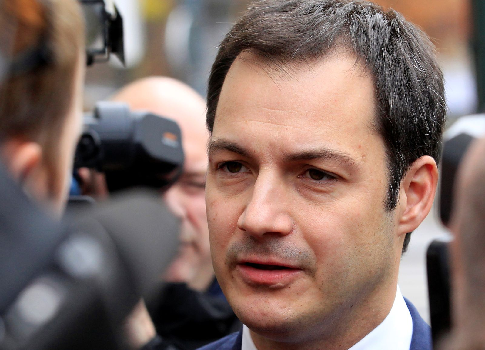 FILE PHOTO: Belgian Flemish Liberal party politician Alexander De Croo arrives at a cabinet meeting in Brussels