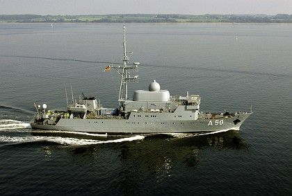 The German spy ship Alster prior to being sent to Lebanon.