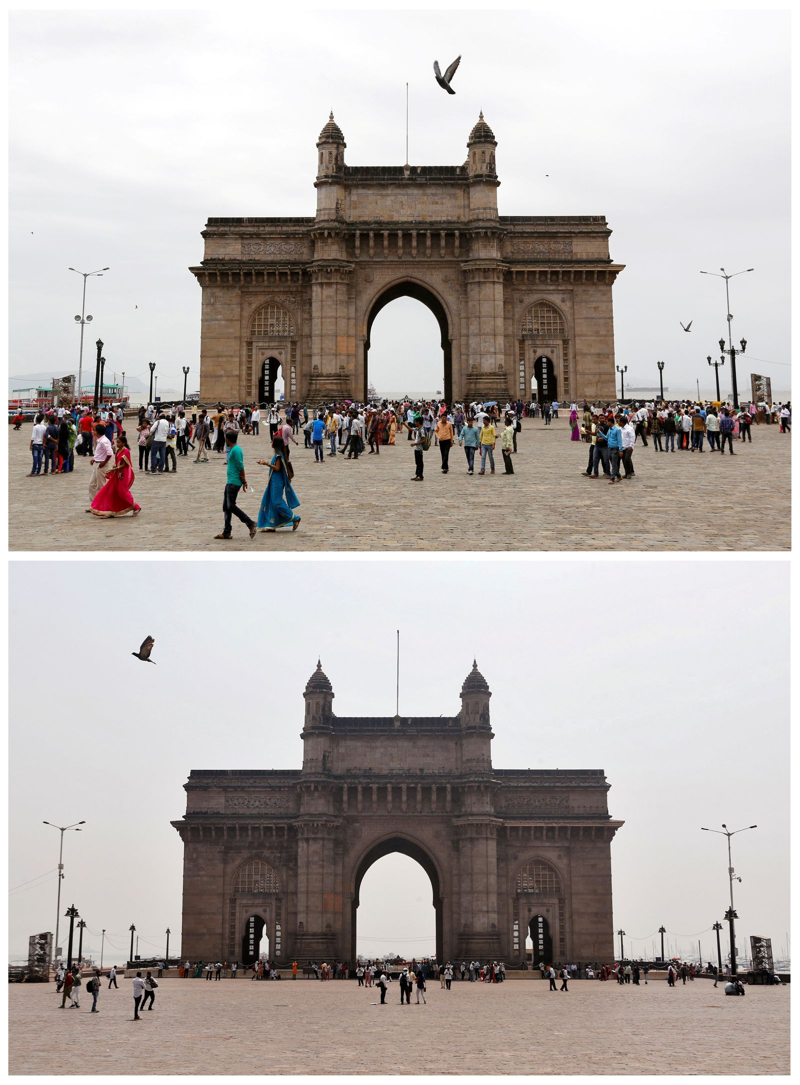 A combination picture shows the Gateway of India