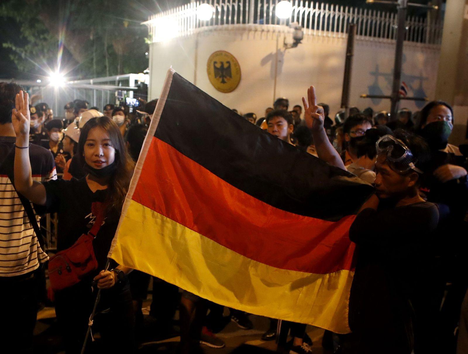 Pro-democracy demonstration at the German embassy in Bangkok, Thailand - 26 Oct 2020