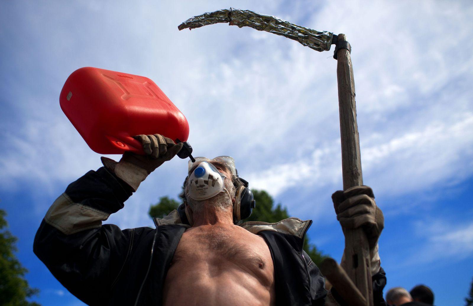 Protest gegen Fracking bei Ölförderung