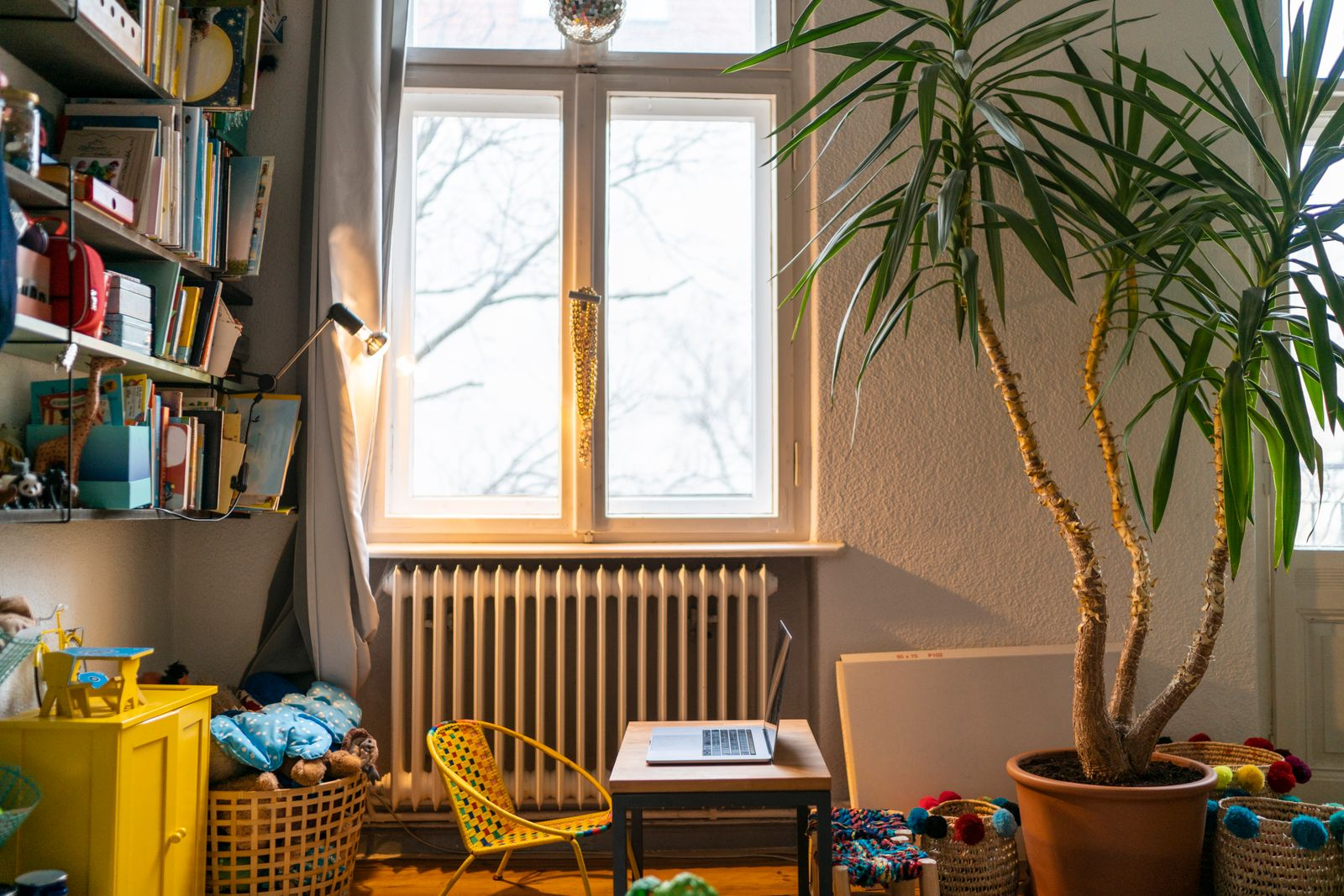 Laptop in children's room at home