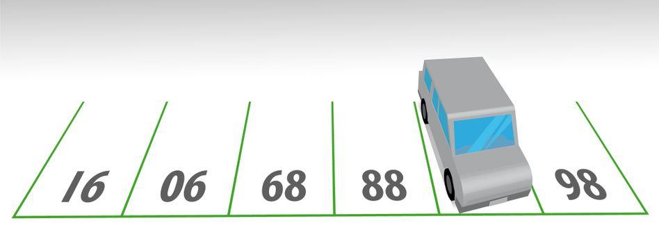 Zahlenrätsel: Welche Nummer steht unter dem parkenden Auto?