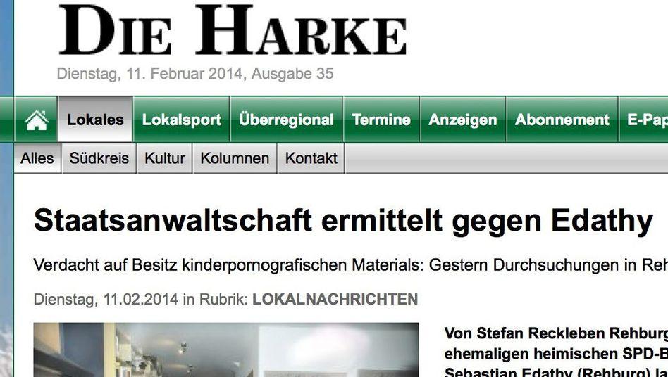 Screenshot: Internetseite dieharke.de