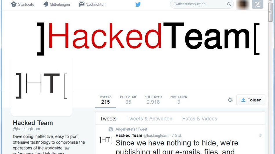 """Twitter-Seite von The Hacking Team: """"Wir haben nichts zu verbergen"""""""